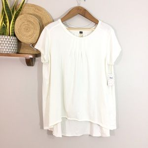 Free People Ivory Little Gem Pleated Tee Shirt
